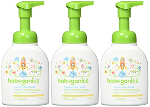 Babyganics Foaming Hand Soap, Fragrance Free, 8oz, 3 Pack, Packaging May Vary