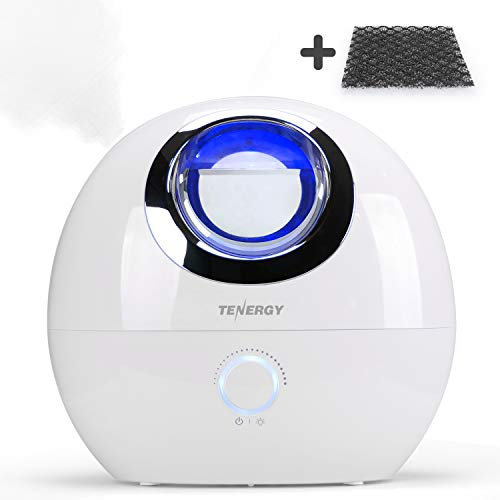 Tenergy Pluvi Ultrasonic Cool Mist Humidifier with Auto Shut-Off Protections, Essential Oil Diffuser Humidifier w/LED Night Light, Quiet Air Humidifier for Bedroom/Office/Living Room, 4L Capacity