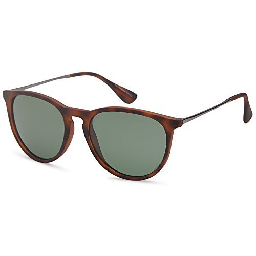 GAMMA RAY Polarized UV400 Vintage Retro Round Sunglasses - Olive Lens on Matte Tortoise Frame ()