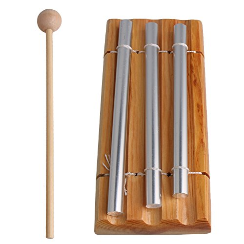 Yibuy 3 Tone Woodstock Chime Eastern Energies Meditation with Wooden Mallet and 2 Aluminum Tube Percussion Musical Instrument by Yibuy