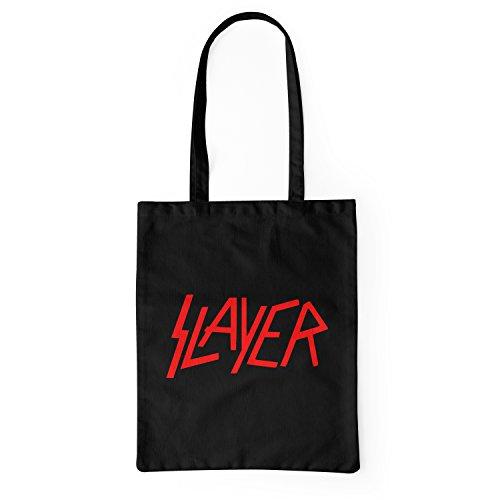 "Bolsa de tela ""Slayer"" - tote bag shopping bag 100% algodón LaMAGLIERIA, Negro"