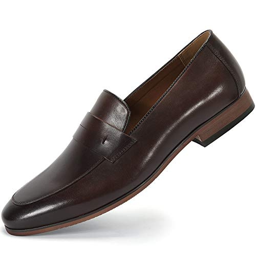 Brown Dress Shoes Loafers - Business Casual Penny Loafers for Men - Slip on Dress Shoes for Men MS006-BROWN-8.5