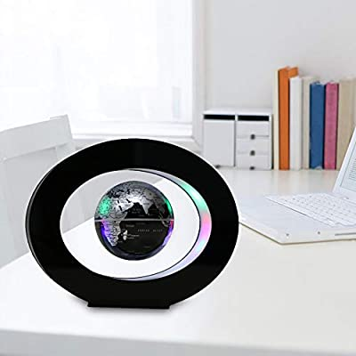 Decdeal Magnetic Levitation Floating Globe, O Shape Anti Gravity Maglev Levitation Rotating Globe World Map with LED Lights for Children Gift Home Office Desk Decoration: Home & Kitchen