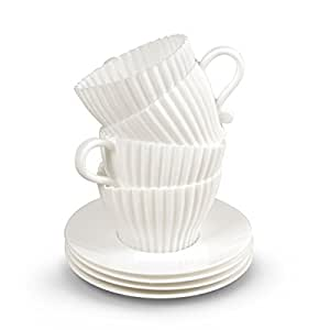 Fred TEACUPCAKES Baking Cups, Set of 4 Cups and Saucers