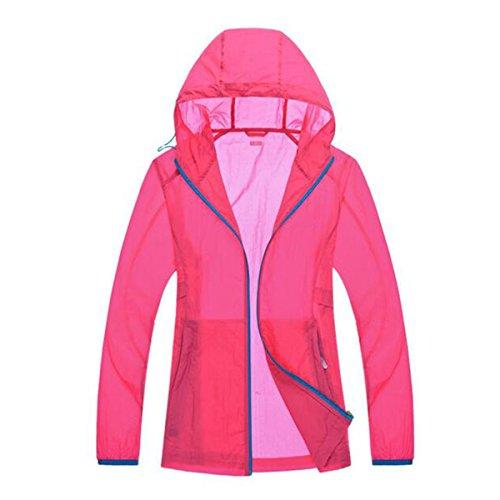 Shuang Yu Zuo Verano Deportes Transpirable Resistente Al Viento El Ocio La Protección UV La Ropa De Protección Solar,Pink-men-L