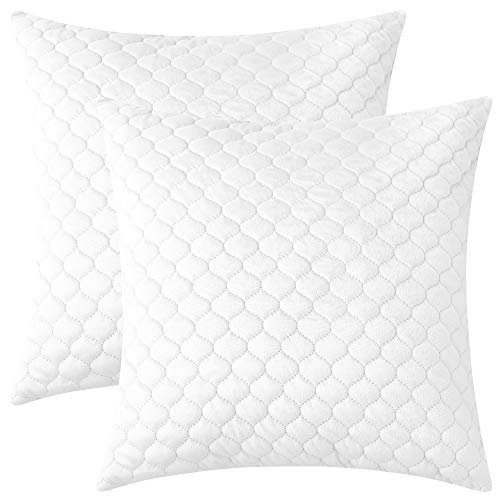 Quilted Decorative Pillow - Rythome Set of 2 Decorative Quilted Velvet Comfortable Throw Pillow Covers for Couch Sofa and Bed - 18