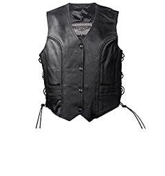 Womens Black Leather Motorcycle Vest With Braid on Front and Back Side Laces (XL, Black)