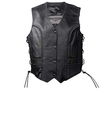 Womens Black Leather Motorcycle Vest with Braid on Front and Back Side Laces (XL, Black) ()