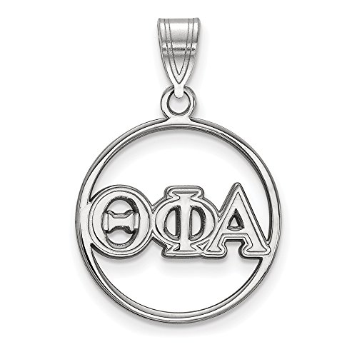 925 Sterling Silver Officially Licensed Theta Phi Alpha Small Circle Pendant (27 mm x 18 mm)