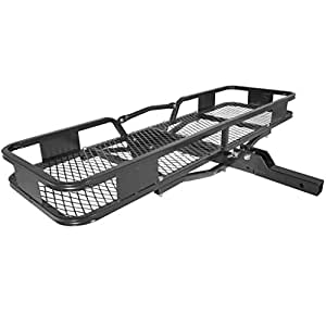 """Titan Ramps Hitch Mounted Steel Cargo Carrier Basket 500 lb Capacity 2"""" Receiver"""