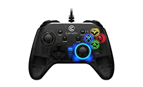 GameSir T4W PC Controller Wired Game Controller for Windows 10/8.1/8/7 Dual Shock Game Gamepad, USB Gamepad with LED Backlight Joystick Vibration Feedback, Semi-Transparent Design