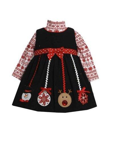 Bonnie Baby Baby Girls' Newborn Ornament Applique Corduroy Jumper Set, Red, 3-6 Months
