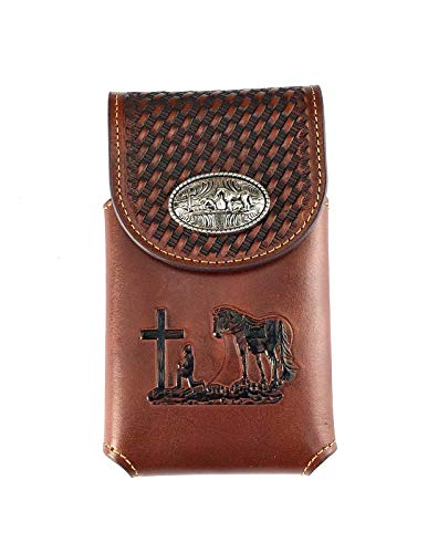 Cowboys Case Cell Phone - Western genuine Leather prayer Belt Loop Cellphone Holster Case (Iphone/Xs/Xs max/samsung galaxy, galaxy plus) (brown)