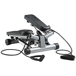 Ultrasport Máquina de step Swing Stepper con cintas de entrenamiento / aparato de entrenamiento Stepper con resistencia regulable y consola inalámbrica – stepper Up-Down para principiantes y usuarios avanzados, pequeño y compacto