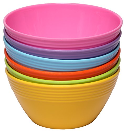 Melange 6-Piece Melamine Bowl Set (Solids Collection) | Shatter-Proof and Chip-Resistant Melamine Bowls | Color (Melamine Colorful Melamine Dinnerware)