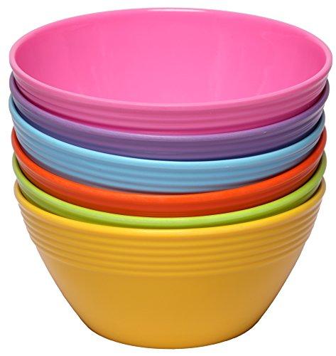 Melange 6-Piece Melamine Bowl Set (Solids Collection) | Shatter-Proof and Chip-Resistant Melamine Bowls | Color: Multicolor by Melange