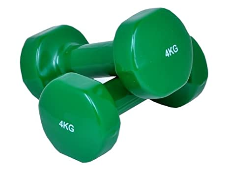 Juego de 2 mancuernas de 4 kg., recubiertas de vinilo, color verde: Amazon.es: Deportes y aire libre