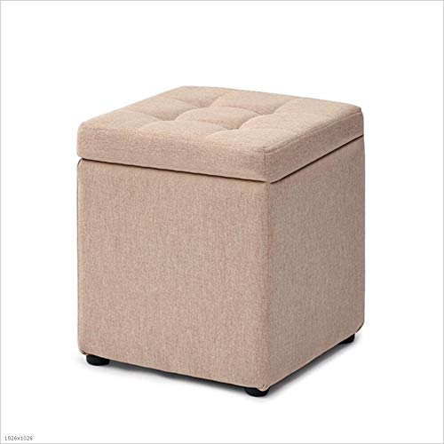 Beige SZ JIAOJIAO Sofa Stool Linen Cushion With Lid Removable Footrest shoes Bench Size 30X30x35cm,bluee
