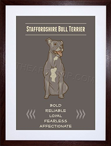 The Art Stop Quote Painting Dog Character Staffy Bull Terrier Frame Picture Print F12X8298