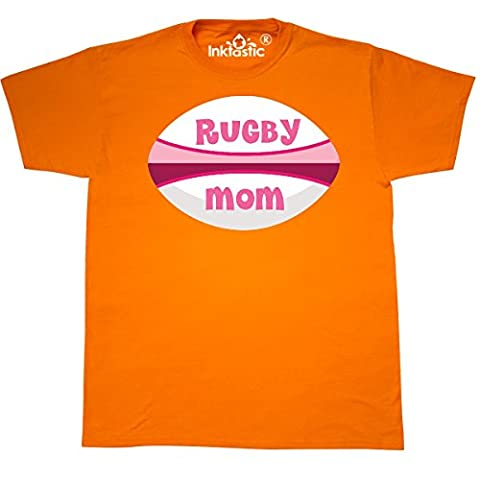 Inktastic - Rugby Mom cute sports T-Shirt XXX-Large Safety Orange - 761 Rugby