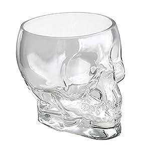 "Clear Glass Cranium Skull Candy Dish 6.5""W"