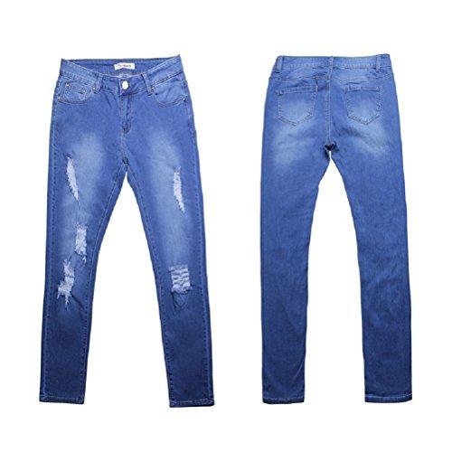 Push Up Slim Vita Pantaloni Stretti Jeans Blu Donna Alta Strappati Skinny 7U60wqz