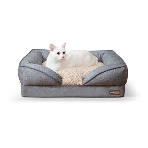 K&H Pet Products Pillow-Top Orthopedic Lounger Pet Bed Small Classy Gray 18