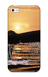 High Quality Tail In The Sunset Big Whale Out Water Light Acvatic Ocean Animal Fish Case For Iphone 5c / Perfect Case