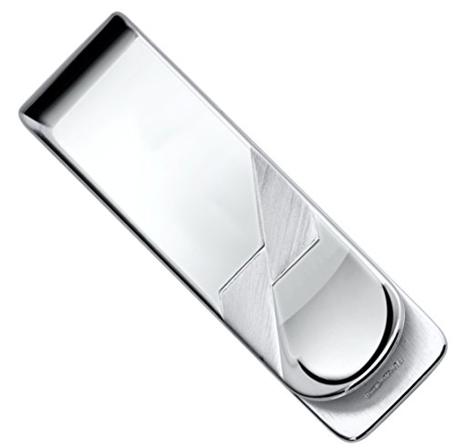 Sterling Silver .925 Money Clip Solid Design Satin Accents, Hand Polished, Engravable, Designed and Made In Italy. By Sterling Manufacturers by Sterling Manufacturers