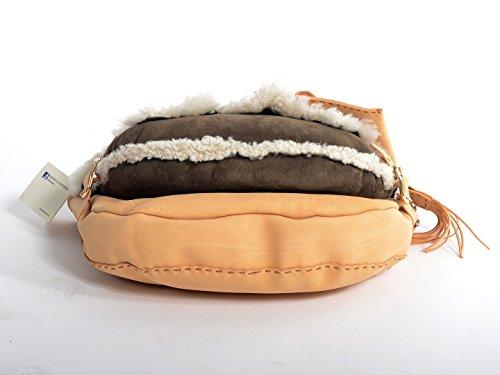 Kilaccessori - Doppia borsa a mano con Vacchetta twist e montone
