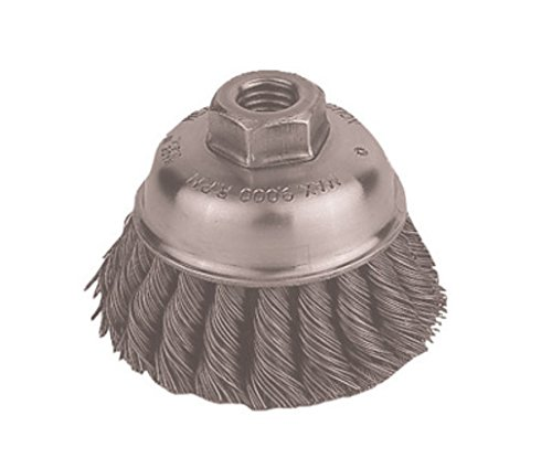 Radnor RAD64000311 5'' x 5/8'' - 11 Carbon Steel Heavy Duty Knot Wire Cup Brush for Use On Right Angle Grinders, English, 15.34 fl. oz, Plastic, 1 x 1 x 1