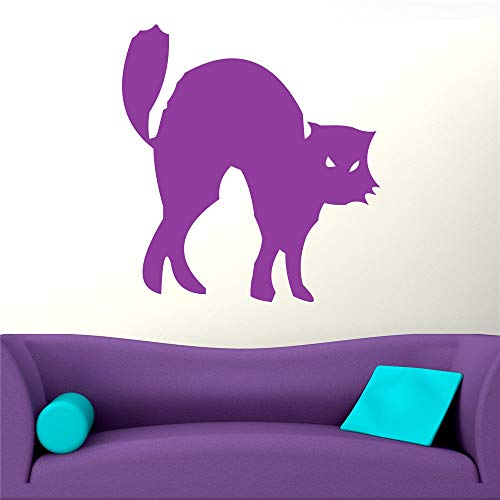 Yunhaa Peel and Stick Removable Wall Stickers Hissing Black Cat for Halloween Day -