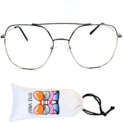 A3069 Oversize Clear Lens Octagon Aviator Metal Glasses Eyeglasses (Silver, - Octagon Eyeglasses