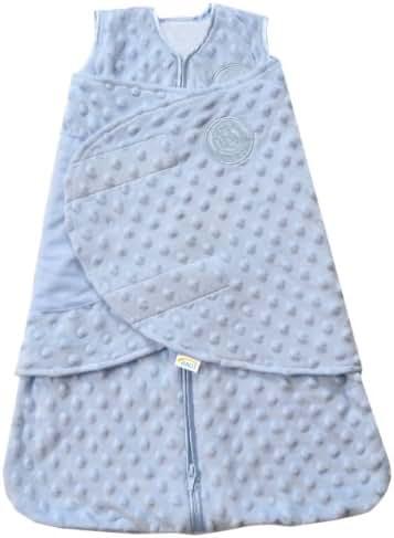 HALO SleepSack Plush Dot Velboa Swaddle, Blue, Newborn
