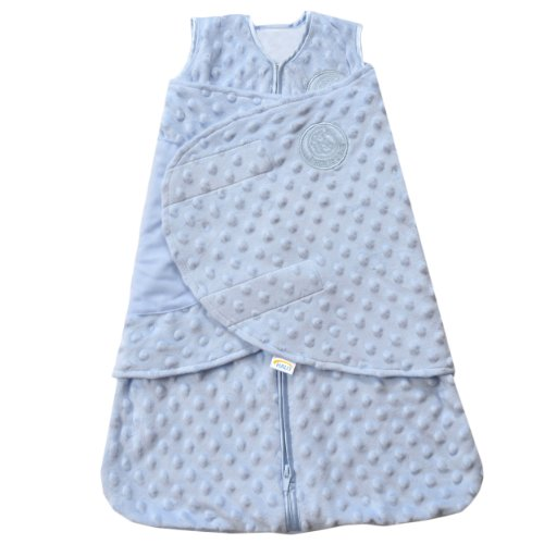 HALO SleepSack Plush Dot Velboa Swaddle, Blue, Newborn