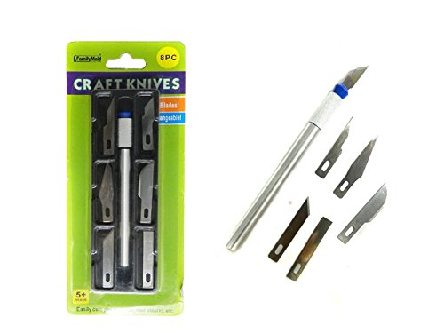 8 PC Craft & Hobby Knife Set , Case of 144 by DollarItemDirect