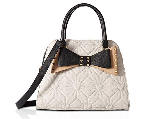(Betsey Johnson Women's Studded Bow Dome Satchel Bisque One Size)