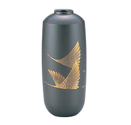 竹中銅器 銅製花瓶 蒔絵 寸胴 双鶴 108-51 B015JB656M