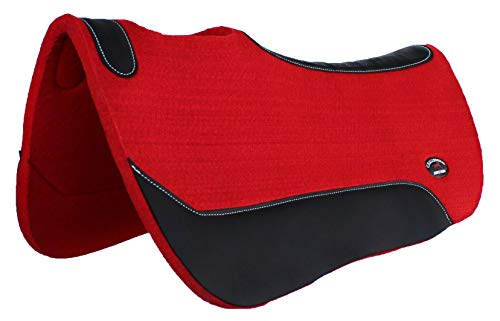 CHALLENGER Horse Western Wool Felt Saddle PAD Contour Barrel Close Contact Red 39121RD1 (Red Saddle Pad)