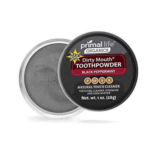 Dirty Mouth Tooth Powder Activated Charcoal Teeth Whitening, Teeth Whitener with Essential Oils and Bentonite Clay, 3…
