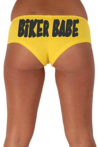 [Women's Juniors Black Biker Babe Booty Shorts: YELLOW MEDIUM] (Biker Babe Costume)