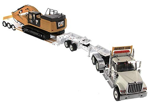 International HX520 Tandem Tractor White with XL 120 Lowboy Trailer and CAT Caterpillar 349F L XE Hydraulic Excavator Set of 2 Pieces 1/50 Diecast Models by Diecast Masters 85600 (Excavator Diecast Model)
