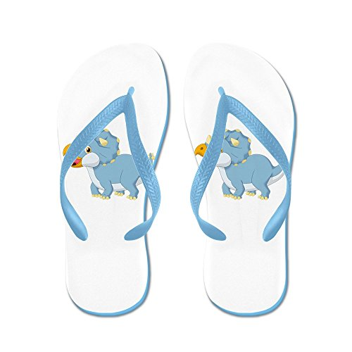 Truly Teague Hombres Cute Blue Triceratops Dinosaur Rubber Chancletas Sandalias Caribe Azul