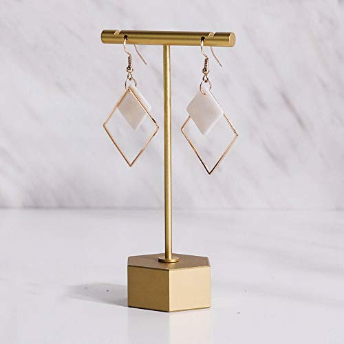 """BanST T Shape Earring Display Holders Earring T Stand for Show T Bar Jewelry Organizer for Online Store Photography Metal Gold -1pc Hexagon Base 4-1/2"""" Height"""