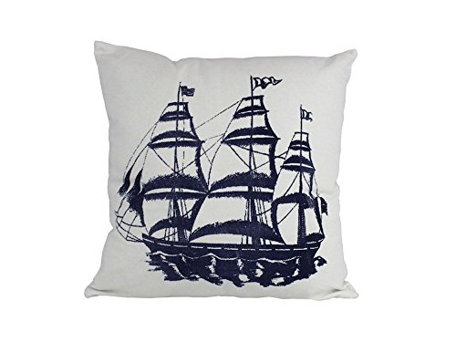 Hampton Nautical Blue Tall Ship Decorative Beach Bedroom Coastal Thrown Pillow, 16