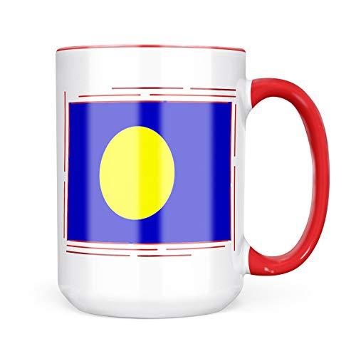 Neonblond Custom Coffee Mug Palau Flag 15oz Personalized Name
