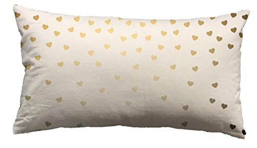 Urban Loft by Westex Foil Hearts Gold Polyester Filled Decorative Throw Pillow Cushion, 14