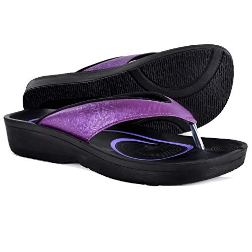 AEROTHOTIC Original Orthotic Comfort Thong Sandal and Flip Flops with Arch Support for Comfortable Walk (US Women 6, Matt Purple)
