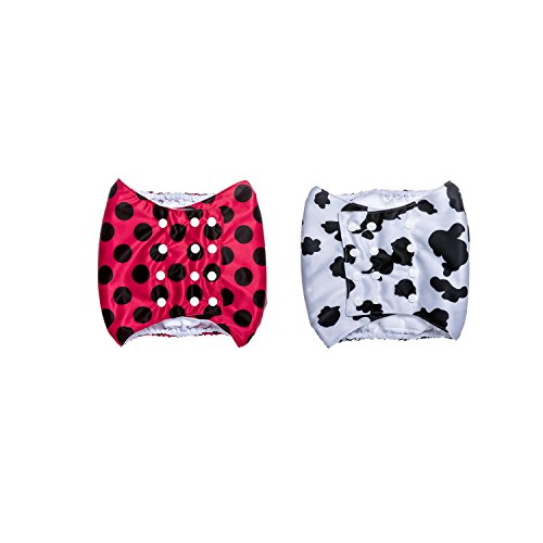 Brooke's Best Belly Bands for Male Dogs 2 pack (M, Red with Black Dots/Cow print)