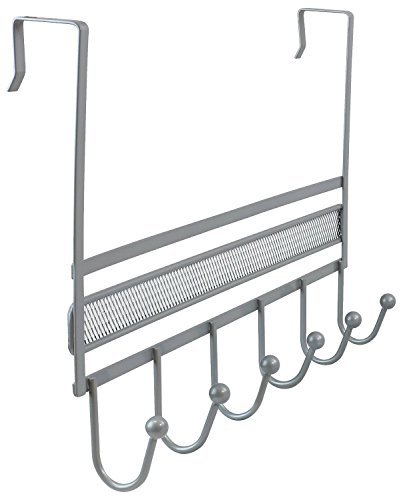DecoBros Over The Door 6 Hook Organizer Rack - Silver